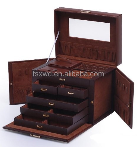 Shining Image Brown LEATHER JEWELRY BOX / CASE / STORAGE / ORGANIZER WITH TRAVEL CASE AND LOC