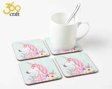 High Quanlity Lamination Waterproofing Square Pantone Color Customer Drinking Blank Bar Cork Backed Mdf Coaster
