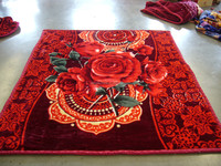 China Factory Direct Order Flower Printed Heavy Raschel Mink Blanket