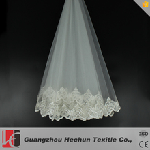 Hot sale long soft lace cathedral train veil for bridal