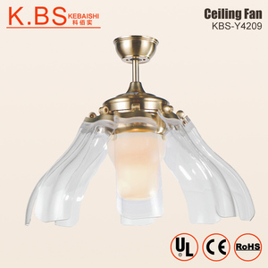 Electric Fancy Folding Blades Acrylic Lampshade Remote Control Invisible Ceiling Fan With Light