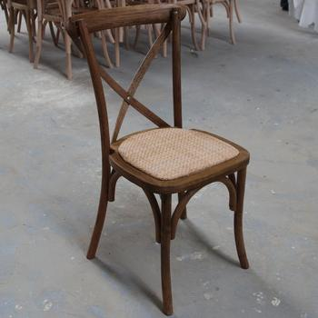 Hot Sale Antique Oak Wood White Cross Back Dining Chairs