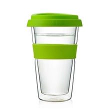 Promotional Gift Personal Double Wall Glass Coffee Cup With Silicone Lid