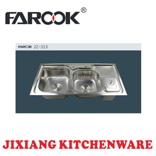 JZ-313 88*45cm double bowl stainless steel kitchen sink with small drainer and bin
