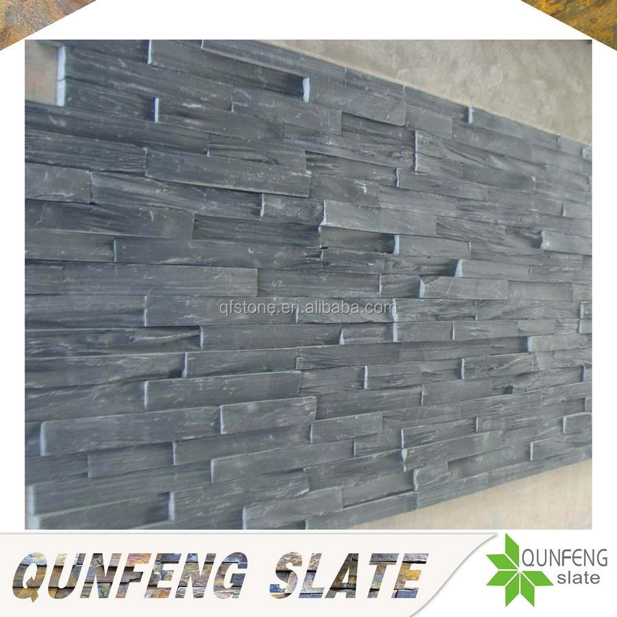 natural black slate panel decorative garden wall stone cladding