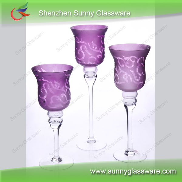 Crystal colored chandelier candle stand for wedding centerpieces