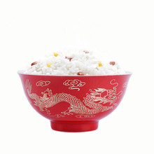 4.8 inch Bone Chinese Red Rice Bowl Ceramic Soup Noodle Bowl Lunch Food <strong>Container</strong> Ramen Bowl Tableware