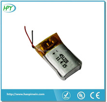 Bluetooth headset lithium-ion polymer battery 3.7v HPY451220 60mAh 501220 85mAh with 500 cycle life