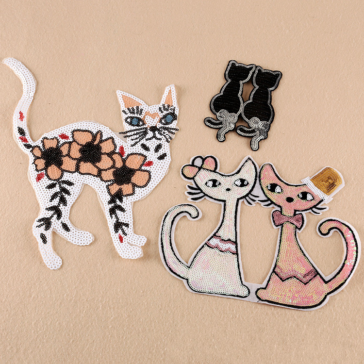 Cat Sequined Badge Iron-on Embroidery Patches Garment Appliques DIY Accessory