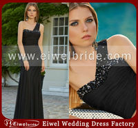 AZ-9 Cheap A-line Strapless One-shoulder Maxi Black Evening Dress Vestido de noite preto