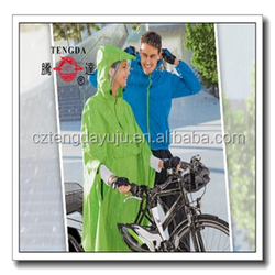 rain coat factory polyester coated pvc bicycle rain poncho