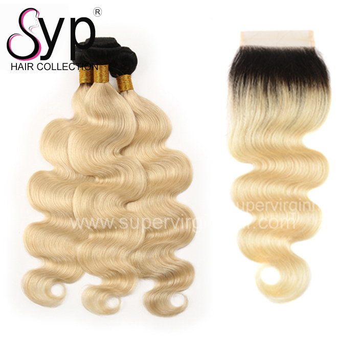 Beauty Stage Ombre Virgin Human Hair Bundles Deals With Closure Vendor From Very Young Girls