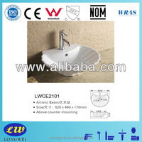 Popular bathroom top mount ceramic sinks