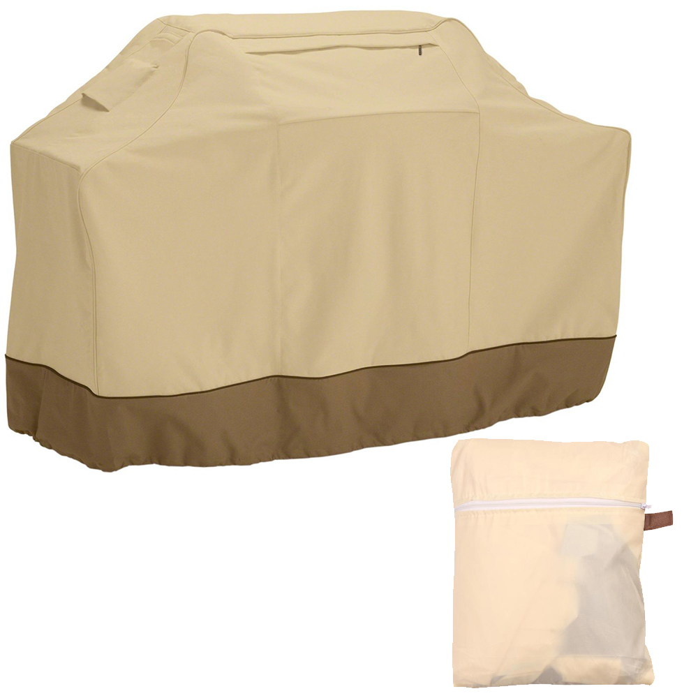 58-inch Heavy Duty Waterproof BBQ Grill Cover for Weber, Holland, Jenn Air, Brinkmann and Char Broil -Beige
