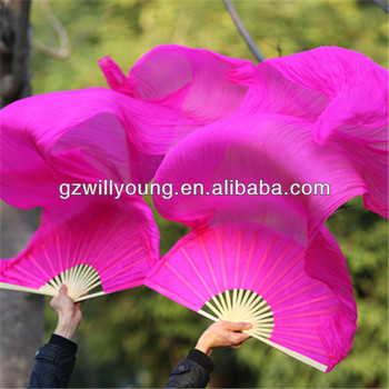 FUSCHIA(HOT PINK), 1.8*0.9M, Belly Dance Real Silk Fan Veils