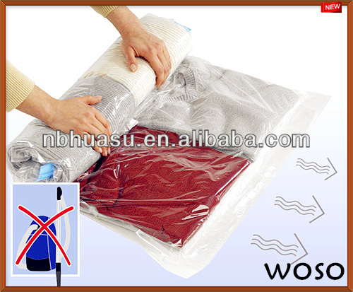 Plastic Compressed Roll Up Storage Bag For Clothing During Travel