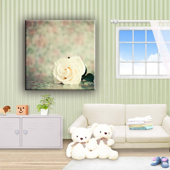 White rose flower canvas painting designs wall pictures for living room