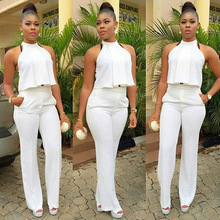 X61600A Women Sleeveless Halter Irregular Crop Top Sexy Evening Party Pants Suits
