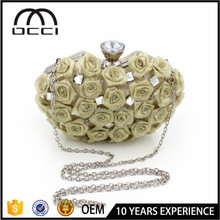 Alibaba AliExpress China Wholesale Ladies Wedding Clutch Bag Popular Rose Flower Evening Bag QR1920