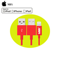 Mfi certified 1m red pvc usb 8 pin mfi charger cable
