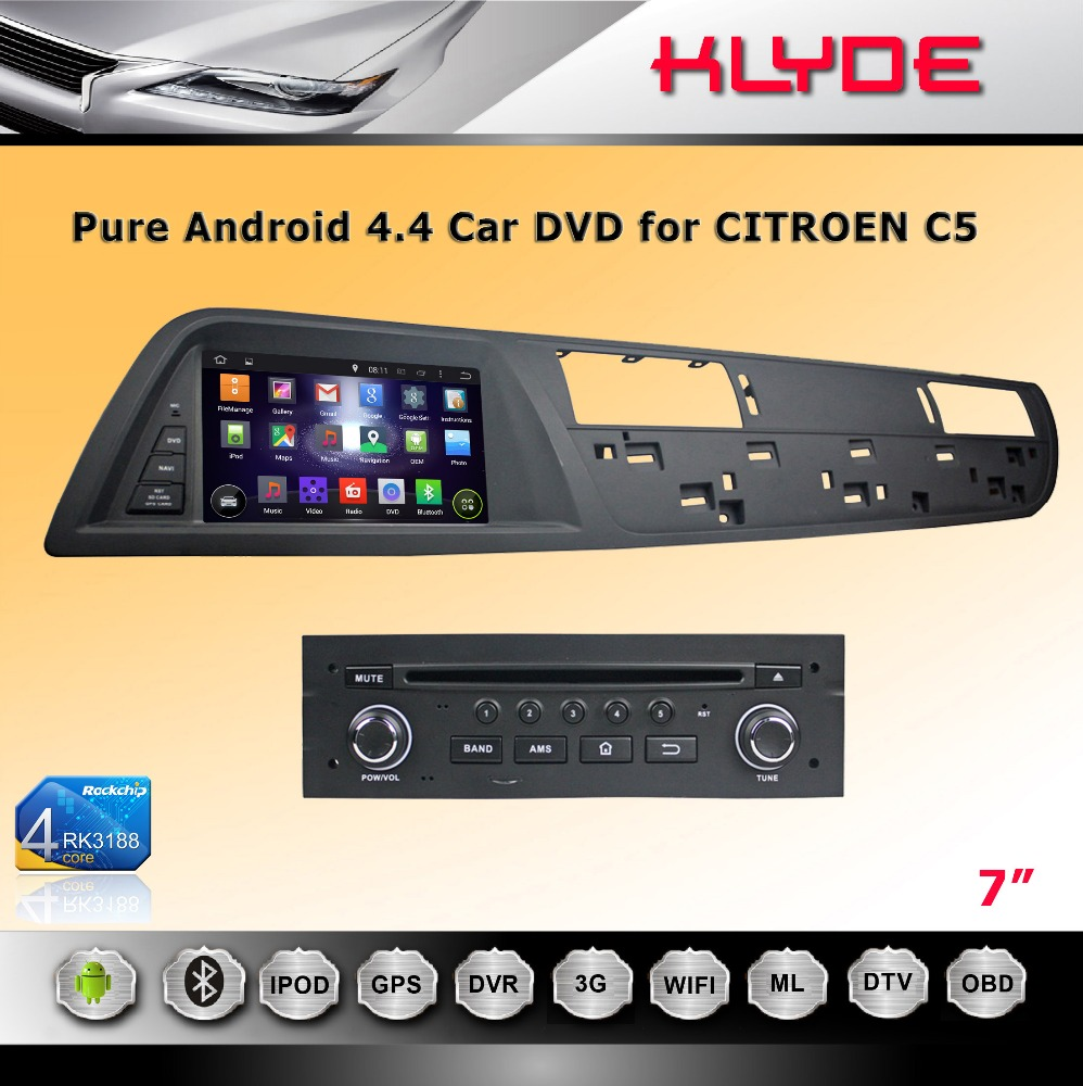 double din car dvd player for CITROEN C5 android 4.4.4 CPU 1.6GHZ 4-core 3G wifi