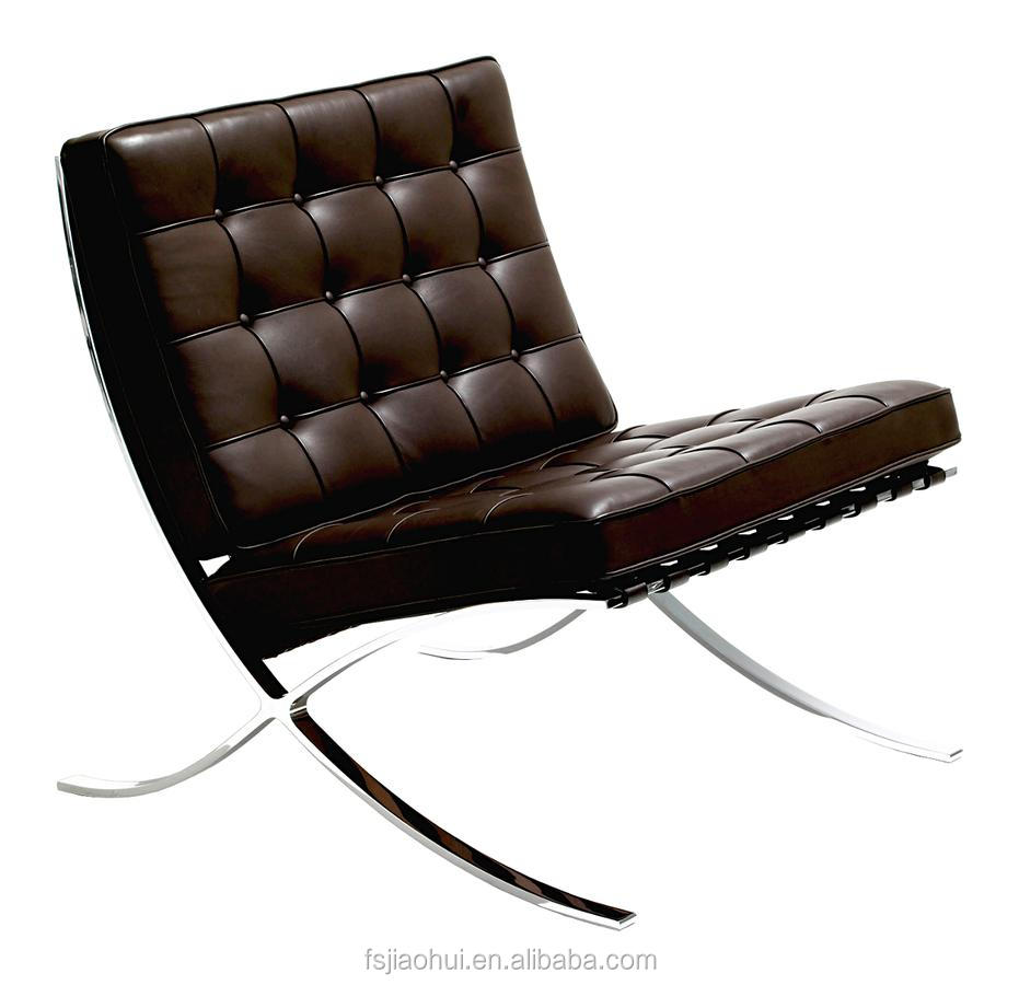 Real Leather Barcelona Lounge Chair Reclining Chair with Ottoman