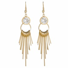 Charm copper hockey sticks earrings crystal stones gold plating