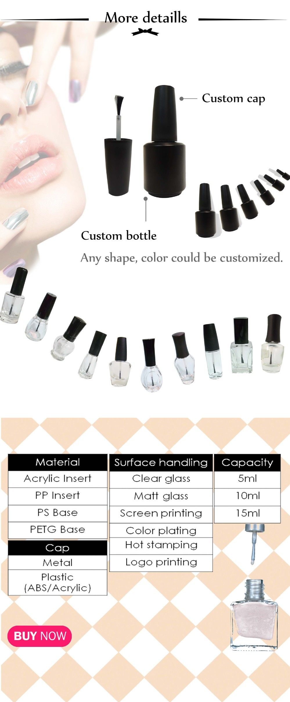 7ml new design unique nail polish glass bottle with brush applicator