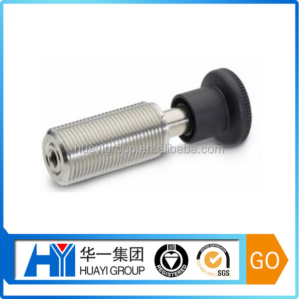 Custom CNC lathe machined stainless steel round knurl knob bolt with internal thread