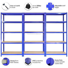 Heavy duty powder coated metal steel shelving for display and storage in warehouse
