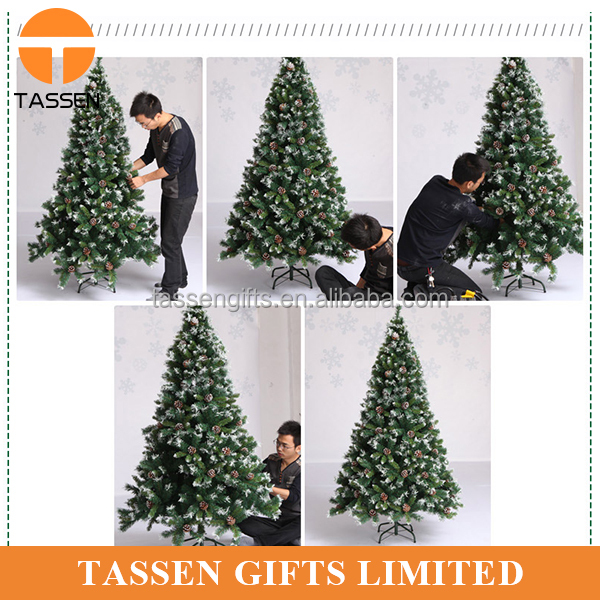 hot sale gaint christmas tree foldable pine cone christmas tree 6ft 1200tips full leaves snow christmas tree