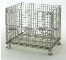 Warehouse Foldable Galvanized folding wire mesh pallet/storage cage/stackable mesh pallet container
