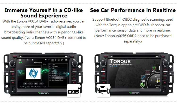 EONON GA9180A for Chevrolet/GMC/Buick Octa-Core 4GB RAM Android 8.0 7 inch Car DVD GPS with Two User Interfaces