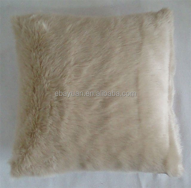 Soft touch faux fur cushion pillow white