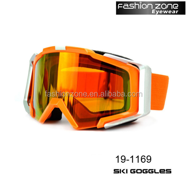 Interchangeable lens snowboard goggles safety custom skiing goggles with adjustable strap