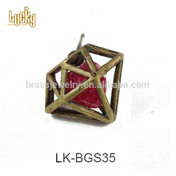 Top quality jewelry wholesale boutique red stone antique gold cheap earrings for baby girls