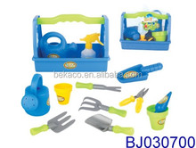 12pcs Plastic Toy Gardening Tools Box for Kids with Rake, Shovel, and Bucket