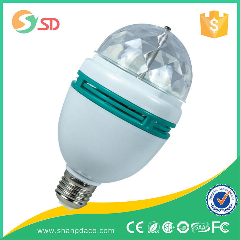 LED 3w rotating disco bulb rgb led stage light