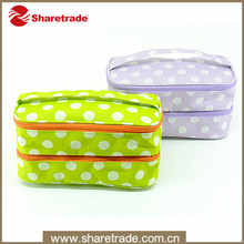 Promotional Fashion Two Layer Polyester Cosmetic Bags For Travel