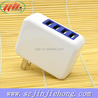 12W Multi USB Power Adapter Wall Charger 4 port with foldable US EU plug