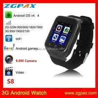 ZGPAX S8 2015 3G Android Watch Smart Phone With MIcro SIM Card MTK6577, android 4.4 smart watch
