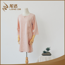 Longda trendy breathable new fashion mixed linen woman dress casual