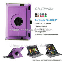 Rotating Leather Case With PC Hard Shell For Kindle Fire HDX 7