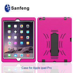 Hybrid Heavy Duty Hard Plastic Soft Silicone Case with Stand for Apple Ipad Pro