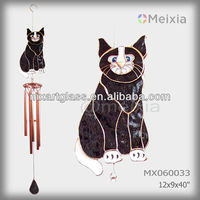 MX060033 wholesale wind chime with tiffany style stained glass cat craft decoration top and metal wind chime pipe