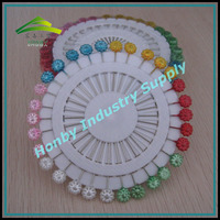 55mm Wheel Packing Colorful Flower Shaped Jewelry Finding Pearl Head Pin