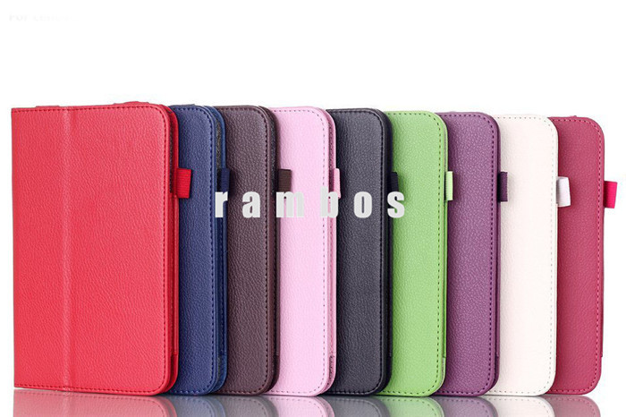 New Stand Litchi Leather Folio Case Tablet PC Flip Covers for Lenovo A5500 with Stylus Holder