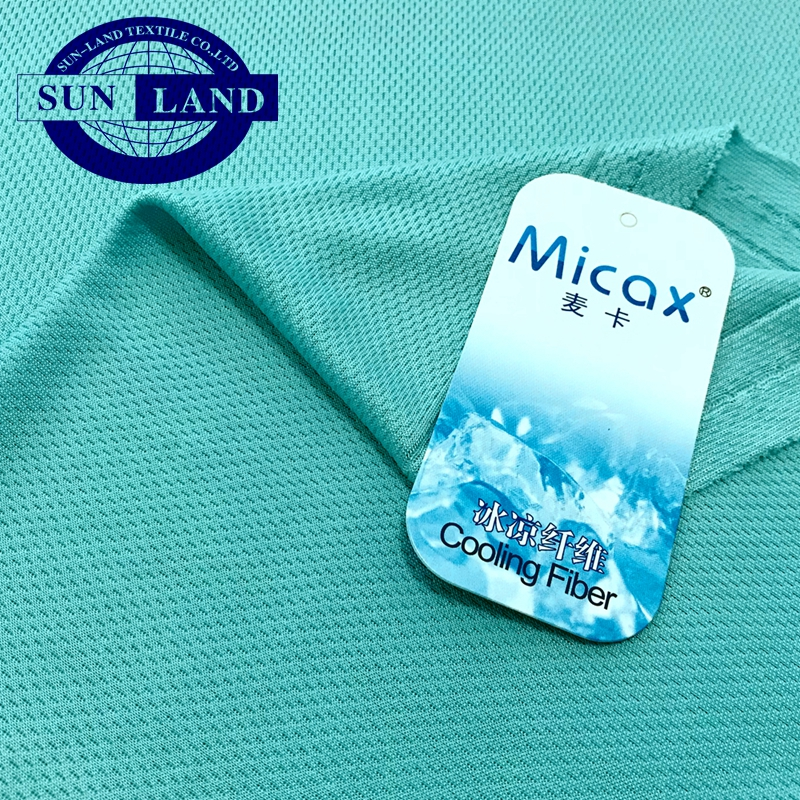 summer sportswear Qmax SGS test 0.366 100% micax nylon cold feeling knitted bird eye mesh fabric