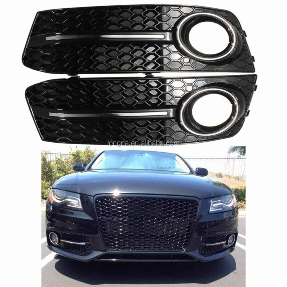 2 x Glossy Black Euro Honeycomb Front Lower Bumper Fog Light Grille Grilles Grill For 2009-2011 Audi A4 A4L B8 4 Door 4D