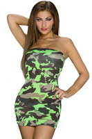 new summer High Street Fascinate Strapless neon 3 color Camourflage Bandeau Club Mini Dress LC22292 dresses for women